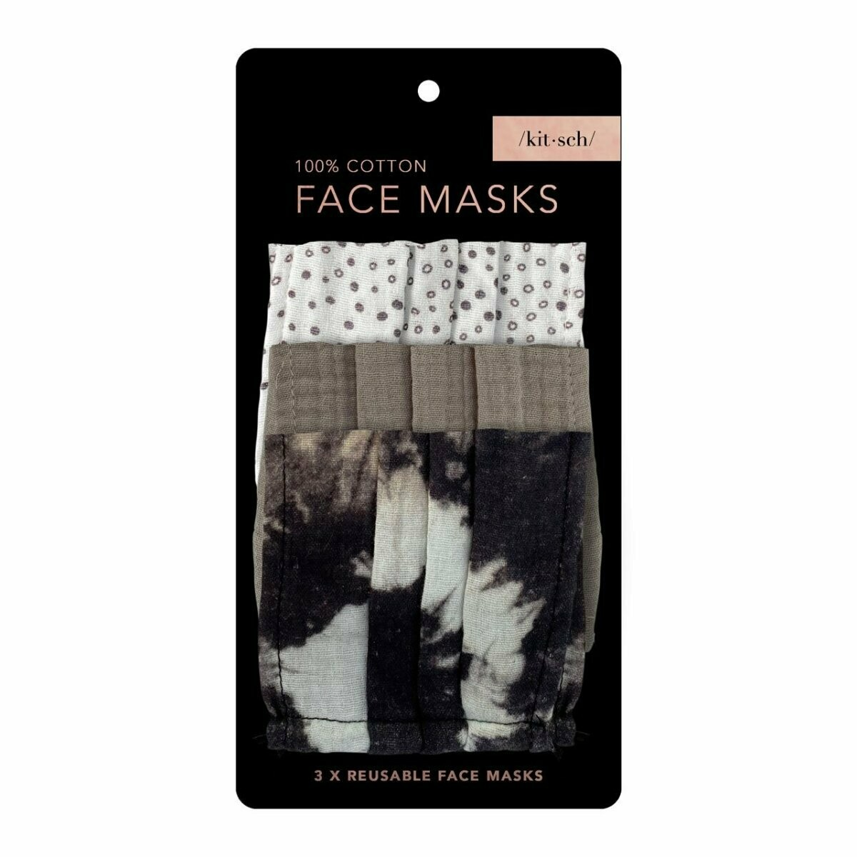Cotton Face Mask 3pc Set - Neutral