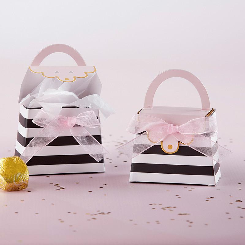 Striped Purse Favor Boxes (Set of 12)