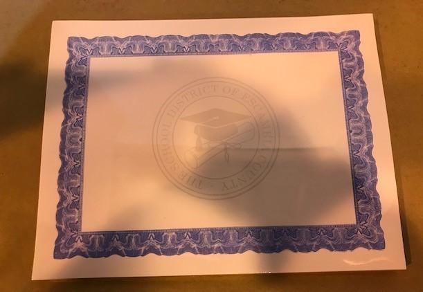 Certificate, Award, Blue