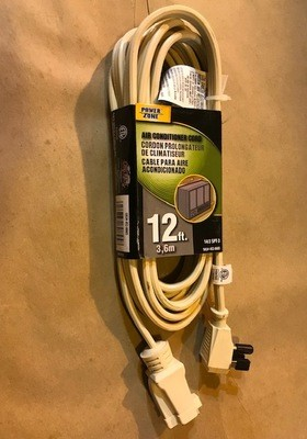 CORD, 12' EXTENSION, FLAT, HEAVY DUTY, WITH GROUND