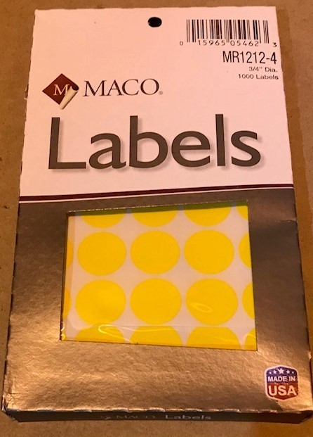 "Label, Dot, Yellow, 3/4"""