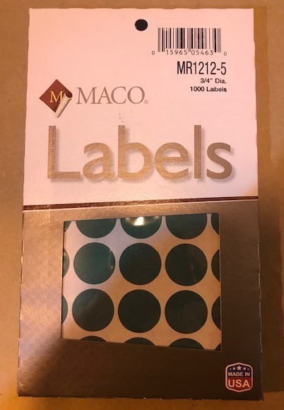Label, Dot, Green, 3/4""