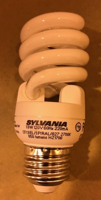 BULB, FLUOR 13W SYL 28896 CF 13EL MINI REPLACES 60W INCANDESCENT