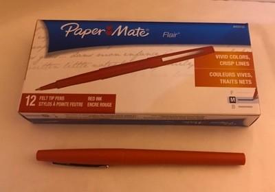 Pen, Red Felt Tip, Fine