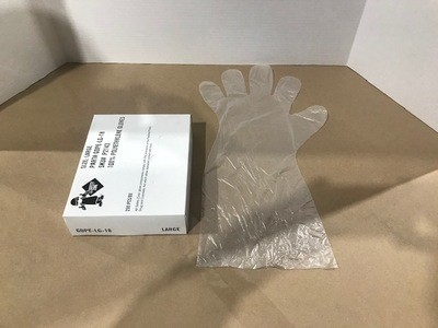 GLOVES, THIN PLASTIC BARRIER, 18