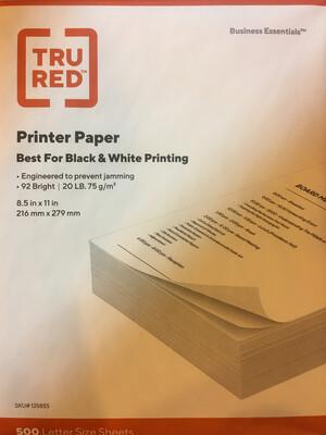 Paper, 20#  White, Letter
