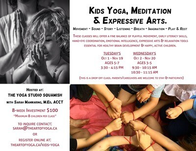 Kid's Yoga - Tuesday 3:30 - 4:15 pm