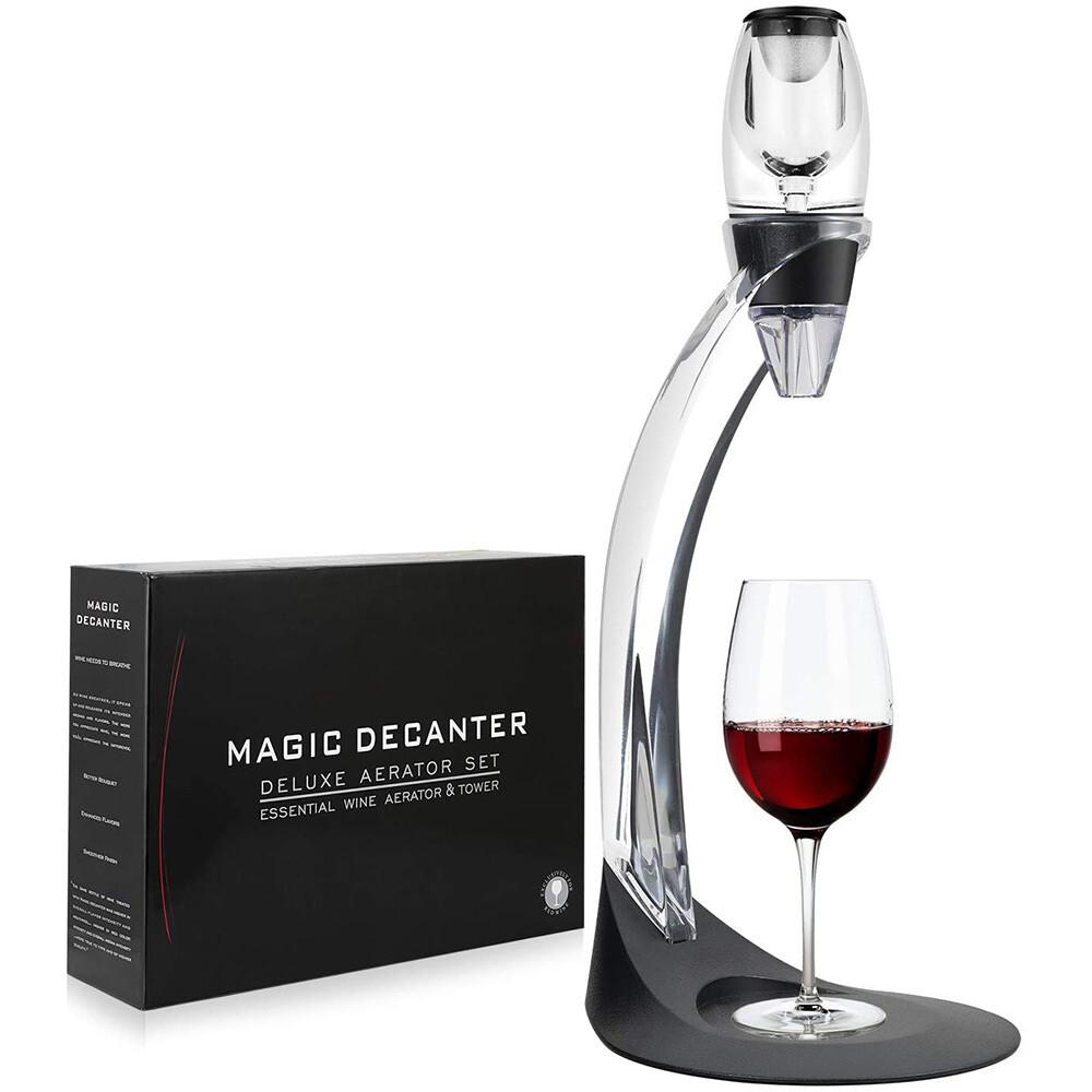 Делюкс-набор с аэратором для вина (с подставкой для бокала) и вакуумной пробкой