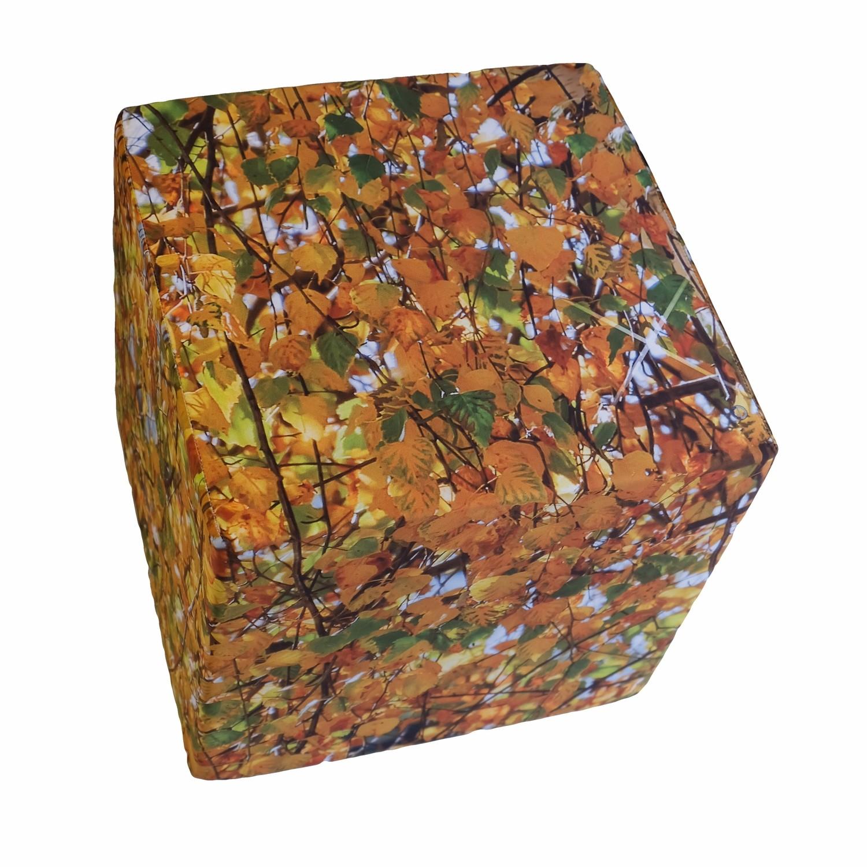 Cube en mousse déhoussable,  Feuillage d'automne