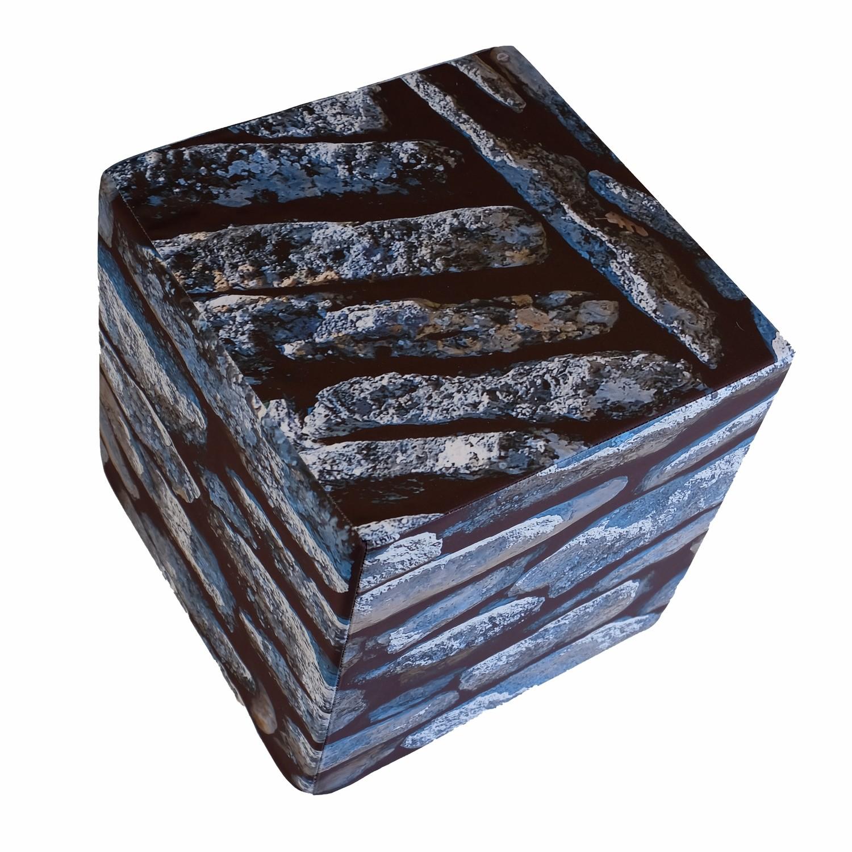 Cube en mousse déhoussable, Pierre grise