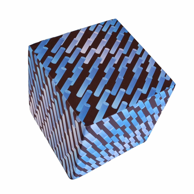 Cube en mousse déhoussable, Graphique néons bleus