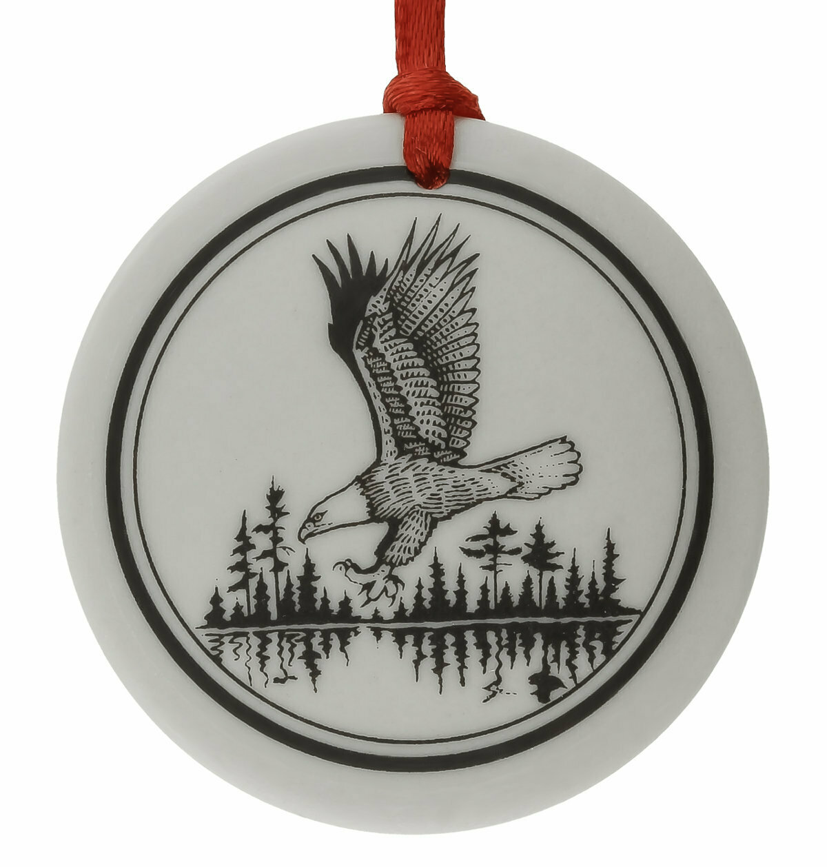 Bald Eagle Totem Round Handmade Porcelain Christmas Ornament