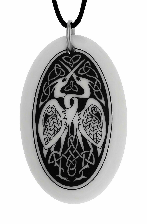 Celtic Birds Oval Handmade Porcelain Pendant