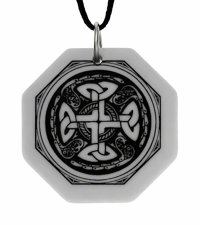 Celtic Cross Octagon Handmade Porcelain Pendant