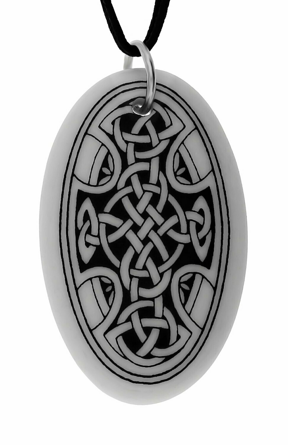 Celtic Cross Oval Handmade Porcelain Pendant
