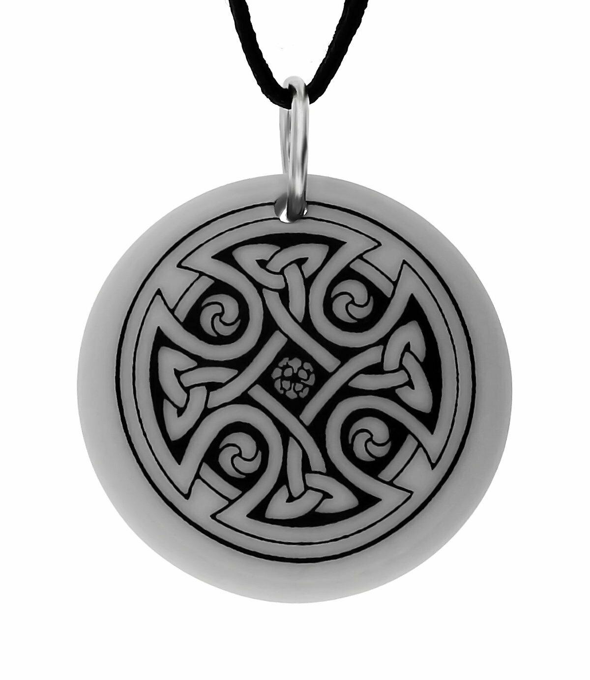 Celtic Cross Round Handmade Porcelain Pendant