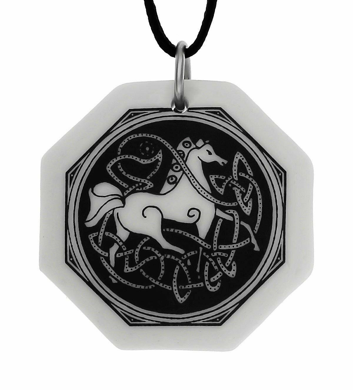 Celtic Horse Octagon Handmade Porcelain Pendant