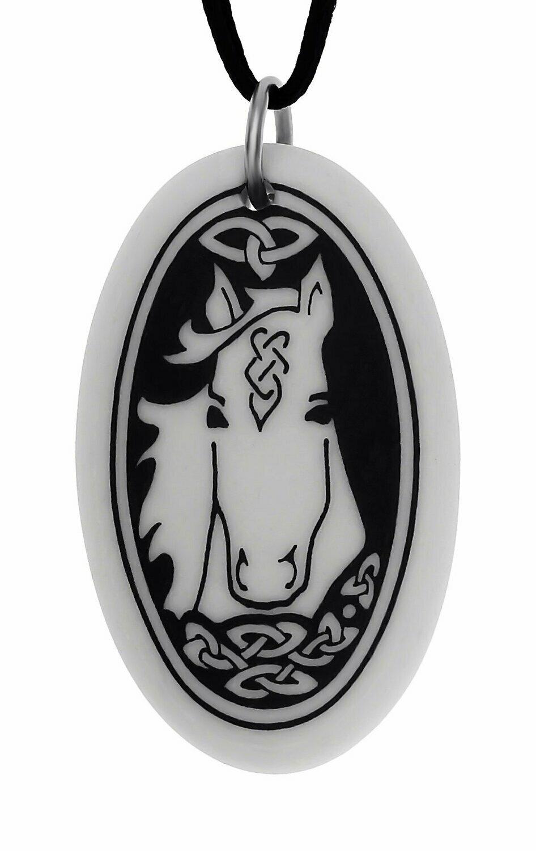 Celtic Horse Oval Handmade Porcelain Pendant