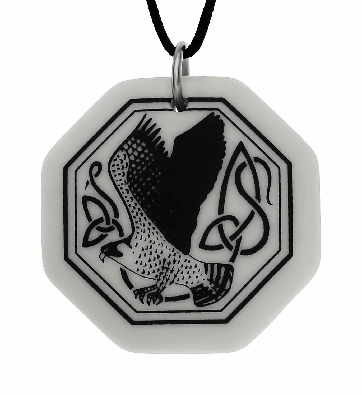 Celtic Kite Bird Octagon Handmade Porcelain Pendant