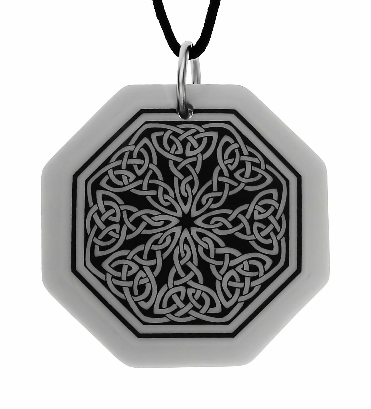 Celtic Knotwork Octagon Handmade Porcelain Pendant