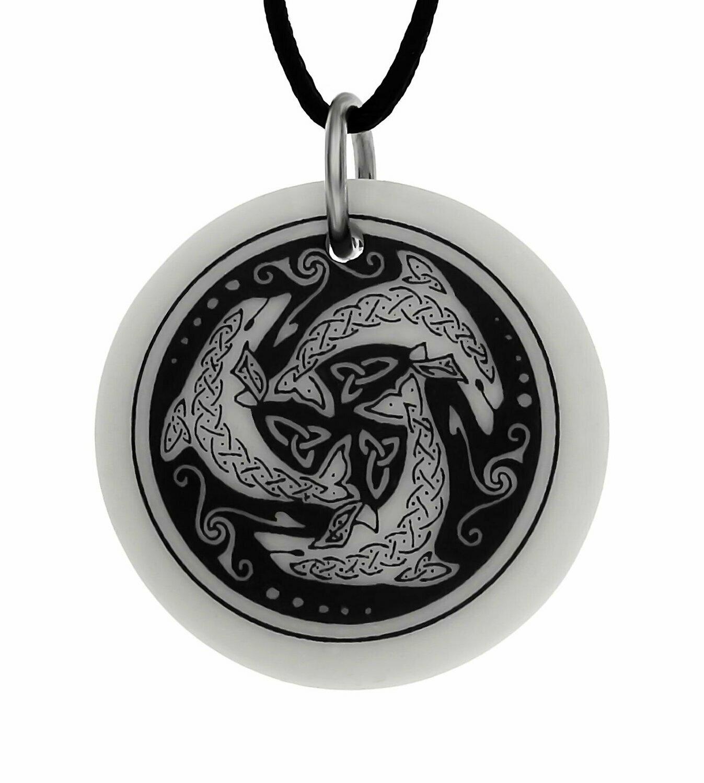 Celtic Nehalennia Round Handmade Porcelain Pendant