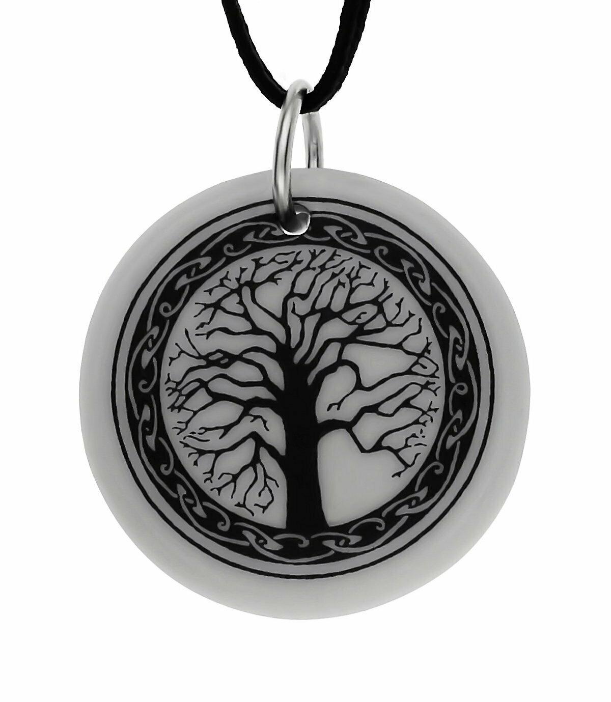 Celtic Sacred Tree of Life Round Handmade Porcelain Pendant