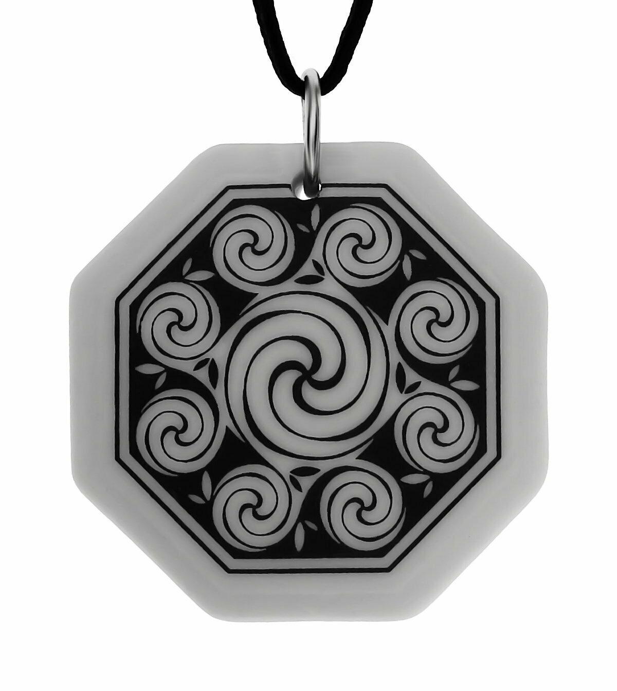 Celtic Spirals Triscele Octagon Handmade Porcelain Pendant