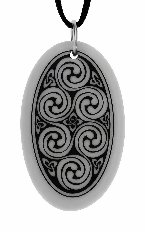 Celtic Spirals Triscele Oval Handmade Porcelain Pendant