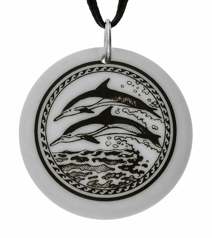 Dolphin Totem Round Handmade Porcelain Pendant