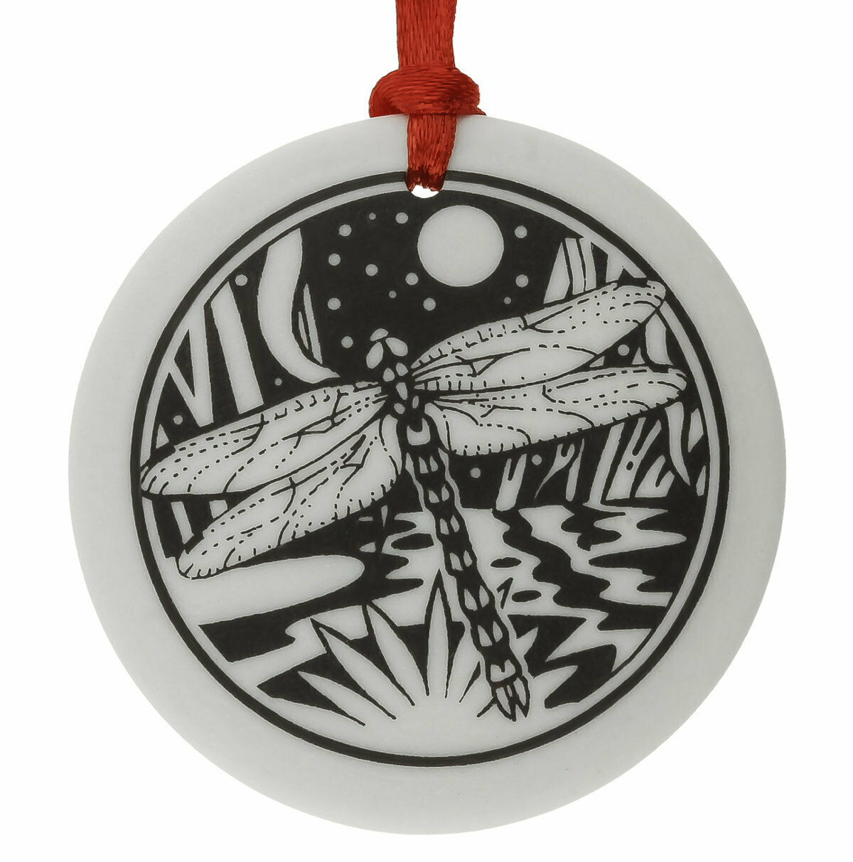 Dragonfly Totem Round Handmade Porcelain Christmas Ornament
