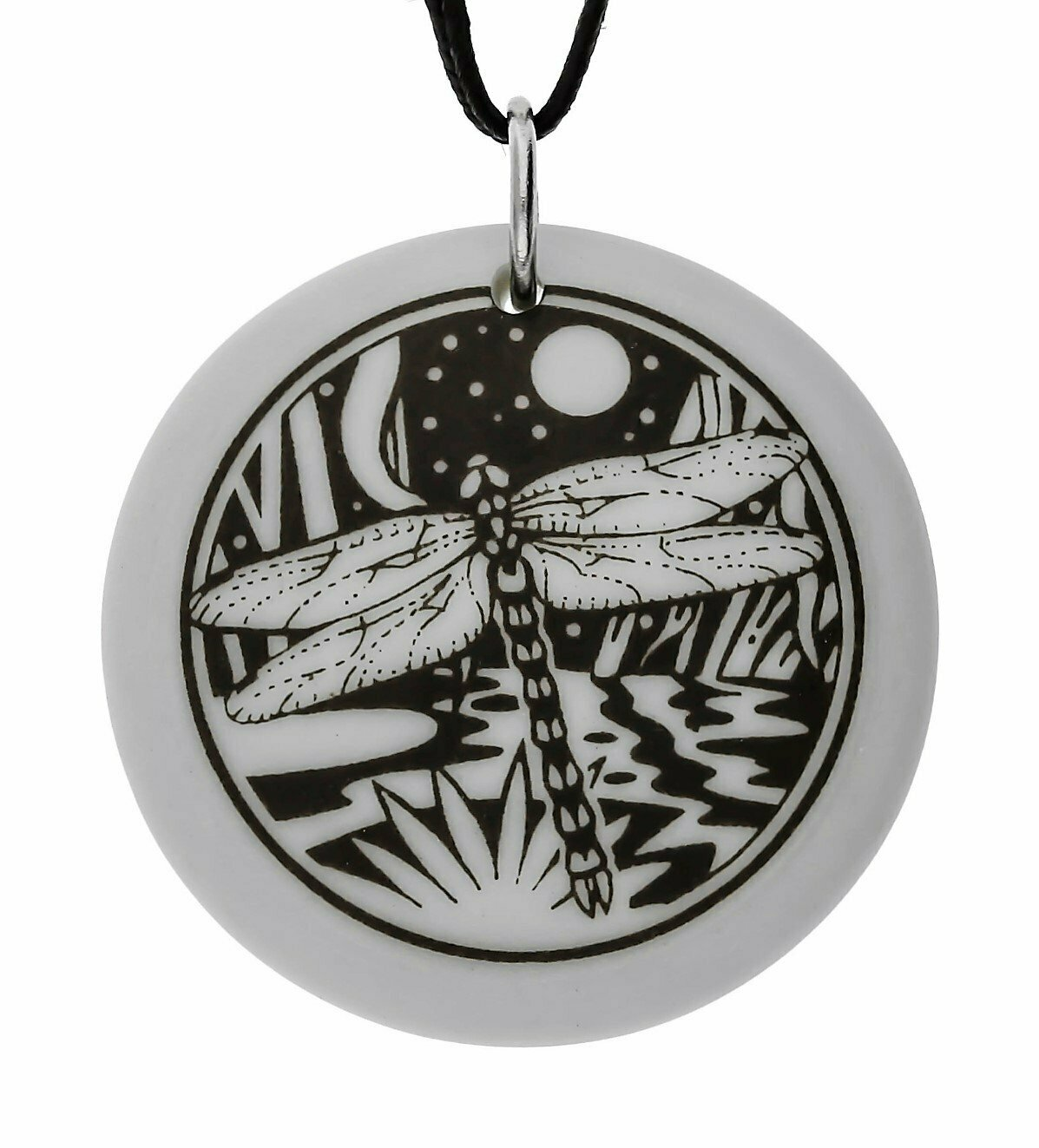 Dragonfly Totem Round Handmade Porcelain Pendant