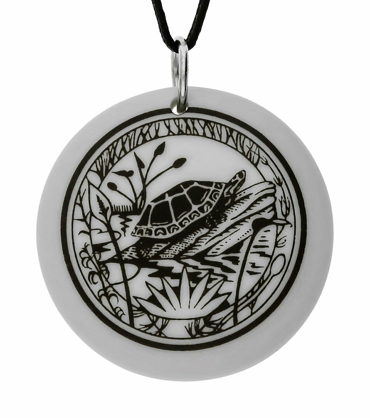 Painted Turtle Totem Round Handmade Porcelain Pendant