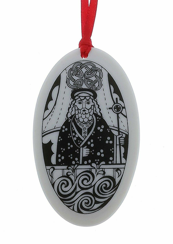 Saint Brendan Oval Handmade Porcelain Christmas Ornament