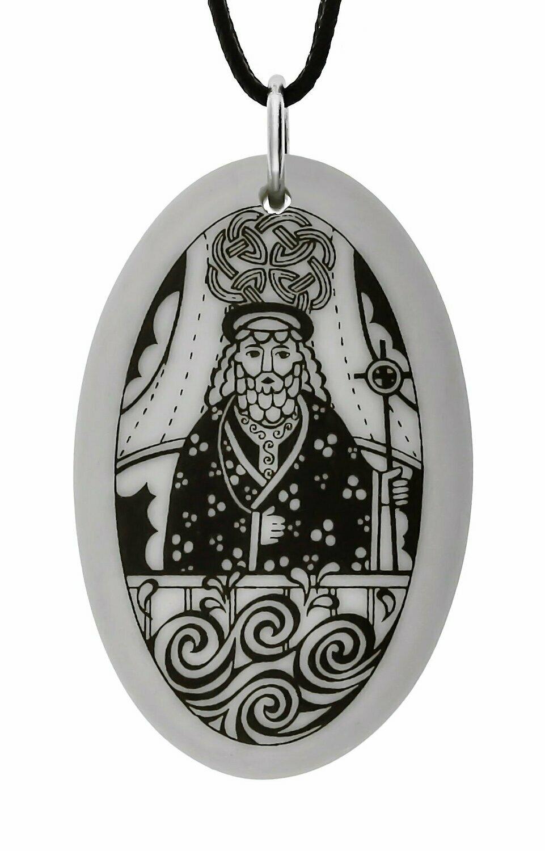Saint Brendan Oval Handmade Porcelain Pendant