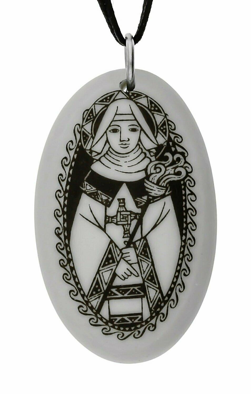 Saint Brigid Oval Handmade Porcelain Pendant