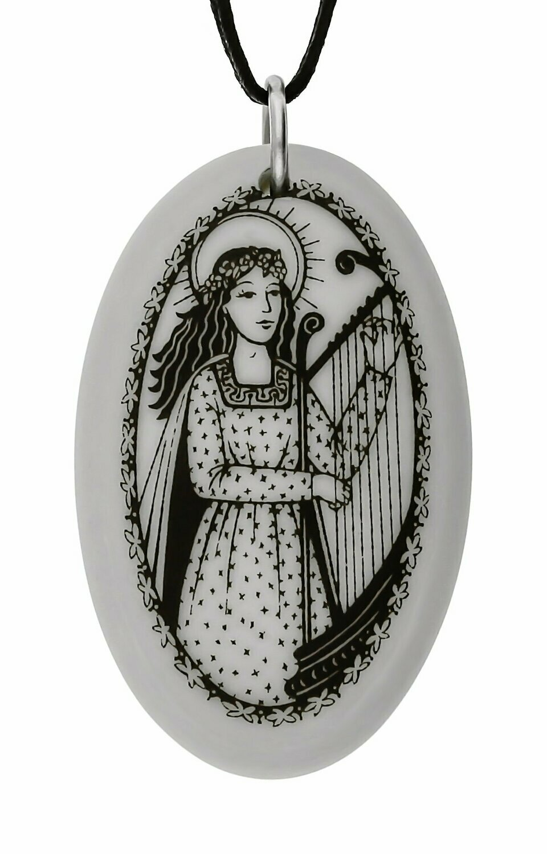 Saint Cecilia Oval Handmade Porcelain Pendant