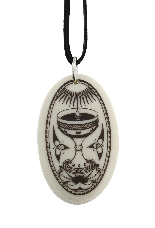 The Holy Grail Oval Handmade Porcelain Pendant
