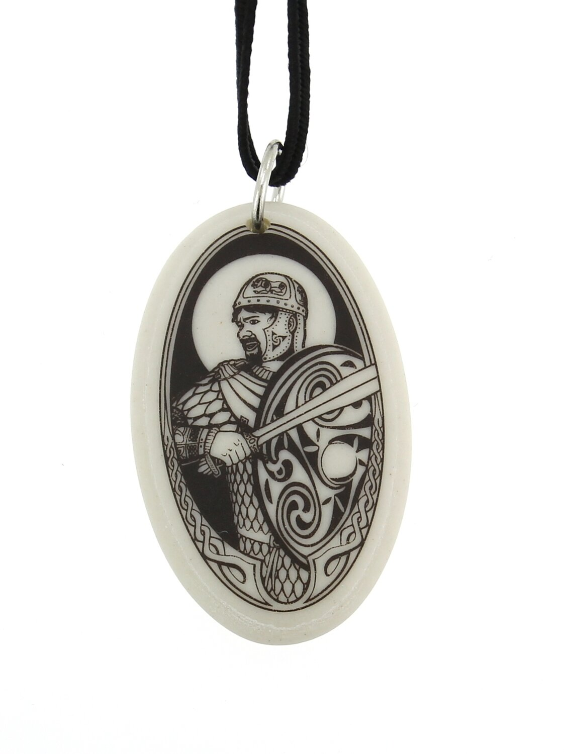 The Knight Lancelot Oval Handmade Porcelain Pendant