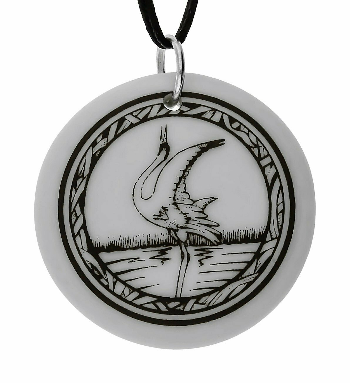 Whooping Crane Totem Round Handmade Porcelain Pendant