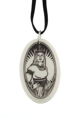 The Queen Guenevere Oval Handmade Porcelain Pendant