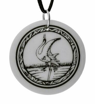 Whooping Crane Totem Round Handmade Porcelain Pendant