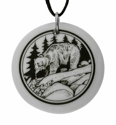 Grizzly Bear Totem Round Handmade Porcelain Pendant