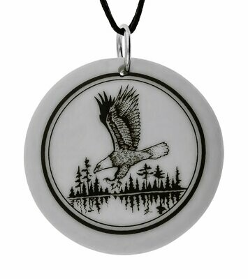 Bald Eagle Totem Round Handmade Porcelain Pendant
