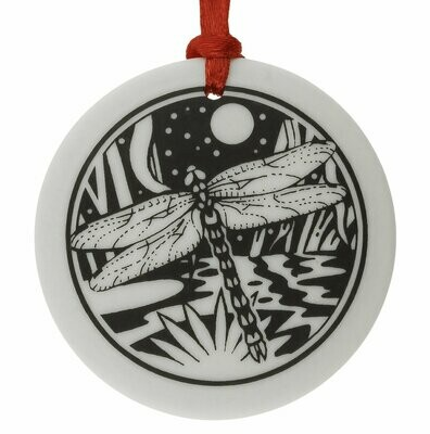 Dragonfly Totem Round Handmade Porcelain Christmas Ornament