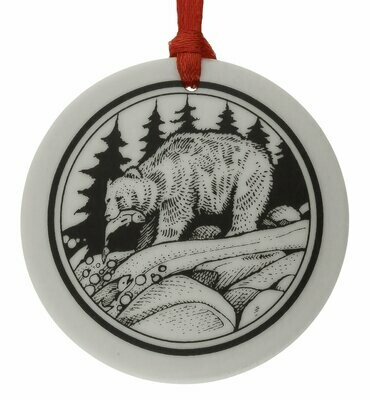 Grizzly Bear Totem Round Handmade Porcelain Christmas Ornament