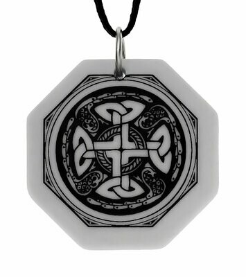 Celtic Cross Octagon Handmade Porcelain Pendant