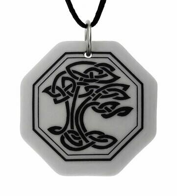 Celtic Sacred Tree of Life Octagon Handmade Porcelain Pendant
