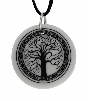 Celtic Sacred Tree of Life Round Handmade Porcelain Pendant