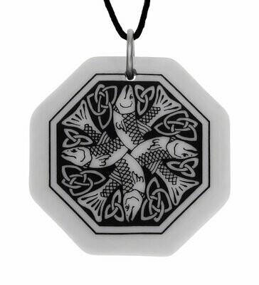 Celtic Fish Octagon Handmade Porcelain Pendant
