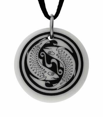 Celtic Fish Round Handmade Porcelain Pendant
